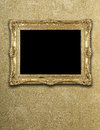 Empty exposition in gold frame Royalty Free Stock Photo