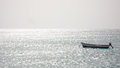 Empty fishing boat on Fog in the Cape Verde Islands Royalty Free Stock Photo
