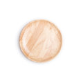 Empty flat wooden dish isolated on white background Royalty Free Stock Photo
