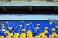 Empty football stadium seats and official tribune of a Royalty Free Stock Photography