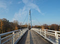 Empty footbridge on steel rope over the river Elbe Royalty Free Stock Photo