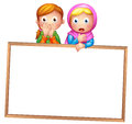 An empty framed white board with two girls illustration of on a background Stock Image