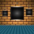 Empty frames on a brick wall Royalty Free Stock Photo