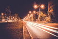 Empty freeway road at night Royalty Free Stock Image