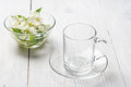 Empty glass cup, ready for herbal tea Royalty Free Stock Photo