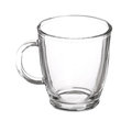 Empty glass cup of tea with handle isolated Royalty Free Stock Photo