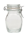 Empty glass jar clipping path Stock Photos