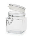Empty glass jar on white Royalty Free Stock Photos