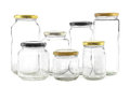Empty glass jars group of seven different for preserves Stock Image