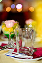 Empty glass mug on the table in restaraunt Royalty Free Stock Photography