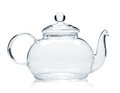 Empty glass teapot Stock Photos