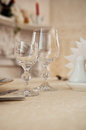 Empty glasses in restaurant Royalty Free Stock Photo