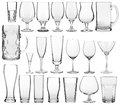 Empty glassware collection Royalty Free Stock Photo
