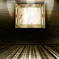 Empty Gold Frame On Wall Royalty Free Stock Image