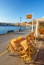 Empty greek cafe, Chania, Crete Royalty Free Stock Photo