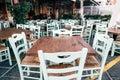 Empty greek cafe on Crete Island Royalty Free Stock Photo