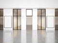 Empty hall of contemporary gallery with blank Royalty Free Stock Photo