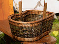 Empty hand made wicker basket Royalty Free Stock Photo