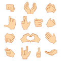 Empty hands holding protect giving gestures icons set isolated on white.