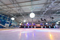 Empty ice stadium with spotlights moscow dec at palace mechta on dec in moscow russia Royalty Free Stock Photography