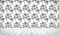 Empty interior background with floral seamless pattern Stock Image