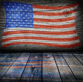 Empty interior room with american flag colors ready for product montage Royalty Free Stock Photo