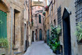 Empty italian street in ligury Stock Photos