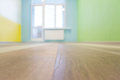 Empty kids room interior background with color walls shallow depth of focus and wooden flooring Stock Photo