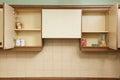 Empty kitchen cupboards still life of Stock Photo