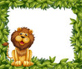 An empty leafy frame with a lion illustration of Royalty Free Stock Image