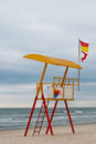 Empty Lifeguard Station on the Beach near a sea Royalty Free Stock Photo