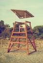 Empty lifeguard tower. Royalty Free Stock Photo