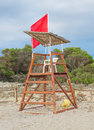 Empty lifeguard tower. Royalty Free Stock Photo