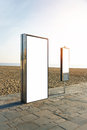 Empty lightbox on the city beach. Vertical Royalty Free Stock Photo