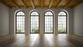 Empty loft room with arc windows d rendering Stock Image