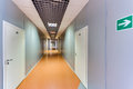 Empty long corridor in the modern office building Royalty Free Stock Photography