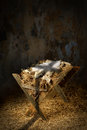 Empty Manger With Cross Shadow Royalty Free Stock Photo