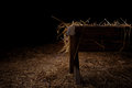 Empty manger at night Royalty Free Stock Photo