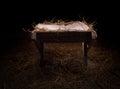 Empty manger at night Royalty Free Stock Photo