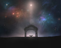 Empty manger under night sky Royalty Free Stock Photo