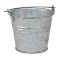 Empty metal bucket isolated on a white background Royalty Free Stock Photos