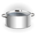 Empty metal pot with lid Royalty Free Stock Photo