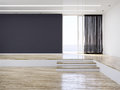 Empty modern interior room with dark wall and light wooden floor Royalty Free Stock Photography