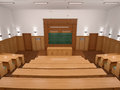 An empty modern lecture style university classroom. Royalty Free Stock Photo