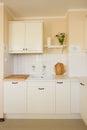 Empty modern white kitchen antique rustique style Stock Photo