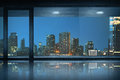 Empty office room with view of the city Royalty Free Stock Photo
