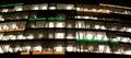 Empty offices at night cube illuminated Royalty Free Stock Photos