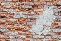 Empty Old Brick Wall Texture. Painted Distressed Wall Surface. Grungy Wide Brickwall. Grunge Red Stonewall Background. Royalty Free Stock Photo