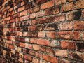 Empty Old Brick Wall Texture. Painted Distressed Wall Surface. Grungy Wide Brickwall. Grunge Red Stonewall Background. Shabby Royalty Free Stock Photo
