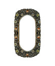 Empty Old Oval Metal Frame decorated with Colorful Jewelry for input Photo or Text Isolated on White Background, Vintage Style Int Royalty Free Stock Photo